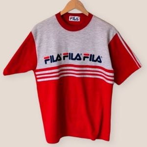 Vintage 90s Fila Red T-shirt Size XL